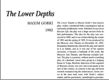 نقد نمایشنامه The Lower Depths by Maxim Gorky