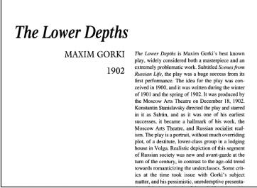 نقد نمایشنامه The Lower Depths by Maxim Gorky