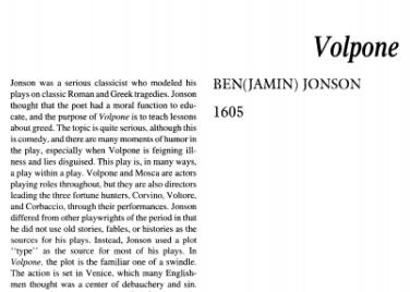 نقد نمایشنامه Volpone by Ben Jonson
