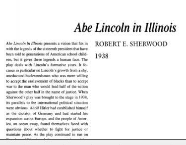 نقد نمایشنامه Abe Lincoln in Illinois by Robert E. Sherwood