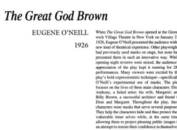 نقد نمایشنامه The Great God Brown by Eugene O'Neill
