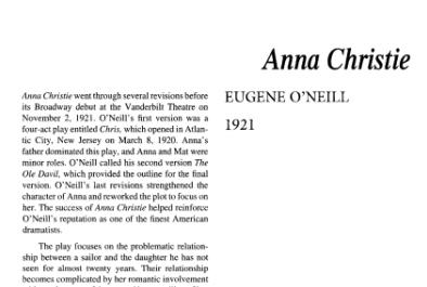 نقد نمایشنامه Anna Christie by Eugene O'Neill