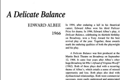 نقد نمایشنامه A Delicate Balance by Edward Albee