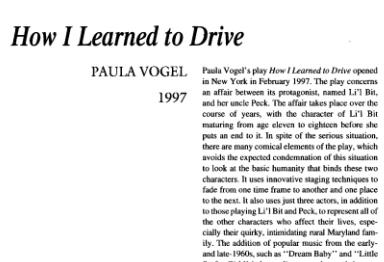 نقد نمایشنامه How I Learned to Drive by Paula Vogel