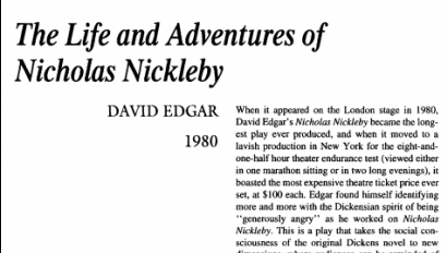 نقد نمایشنامه The Life and Adventures of Nicholas Nickleby by David Edgar
