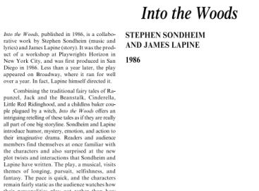 نقد نمايشنامه موزيكال اثر جيمز لپين و استفان سوندهایم Into the Woods by Stephen Sondheim and James Lapine