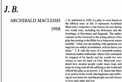 نقد نمایشنامه J.B. by Archibald MacLeish