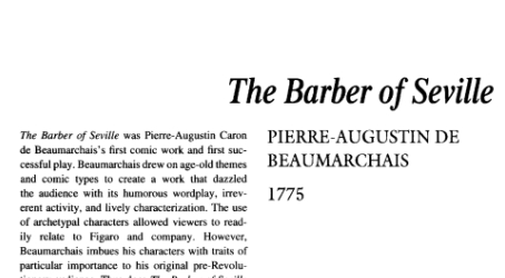 نقد نمایشنامه The Barber of Seville by Pierre Beaumarchais