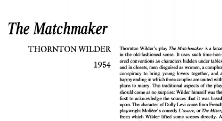 نقد نمایشنامه The Matchmaker by Thornton Wilder