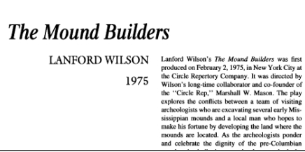 نقد نمایشنامه The Mound Builders by Lanford Wilson