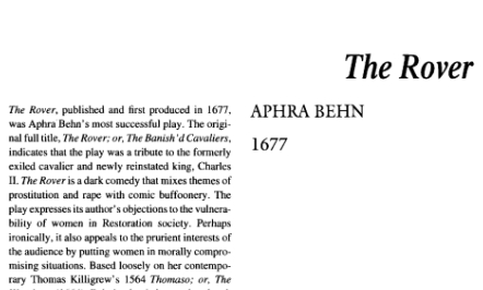 نقد نمایشنامه The Rover or The Banish'd Cavaliers by Aphra Behn