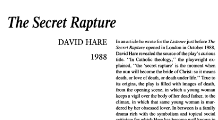 نقد نمایشنامه The Secret Rapture by David Hare