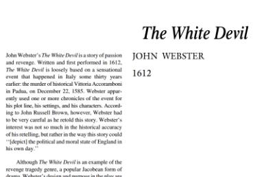 نقد نمایشنامه The White Devil by John Webster