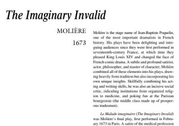 نقد نمایشنامه The Imaginary by Moliere