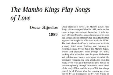 نَقدِ رُمانِ The Mambo Kings Play Songs of Love by Oscar Hijuelos
