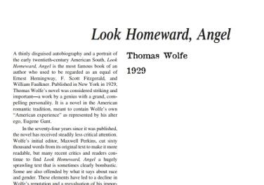 نَقدِ رُمانِ Look Homeward, Angel by Thomas Wolfe