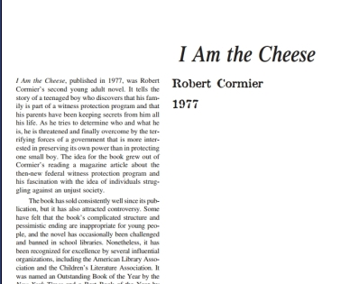 نَقدِ رُمانِ I Am the Cheese by Robert Cormier