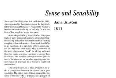 نَقدِ رُمانِ Sense and Sensibility by Jane Austen