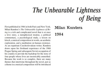 نَقدِ رُمانِ The Unbearable Lightness of Being by Milan Kundera