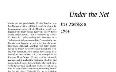 نَقدِ رُمانِ Under the Net by Iris Murdoch