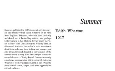نَقدِ رُمانِ Summer by Edith Wharton