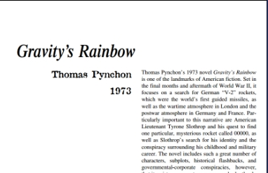 نَقدِ رُمانِ Gravity's Rainbow by Thomas Pynchon