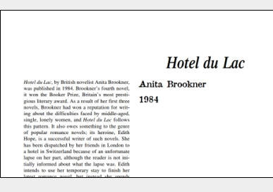 نَقدِ رُمانِ Hotel du Lac by Anita Brookner