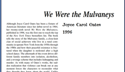 نَقدِ رُمانِ We Were the Mulvaneys by Joyce Carol Oates