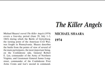 نَقدِ رُمانِ The Killer Angels by Michael Shaara