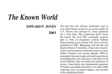 نَقدِ رُمانِ The Known World by Edward P. Jones