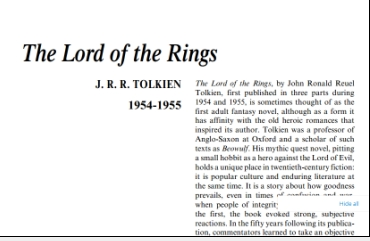 نَقدِ رُمانِ The Lord of the Rings by J. R. R. Tolkien