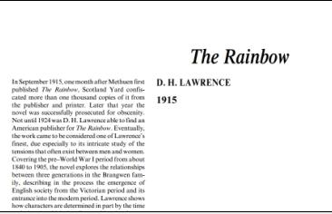 نَقدِ رُمانِ The Rainbow by D. H. Lawrence