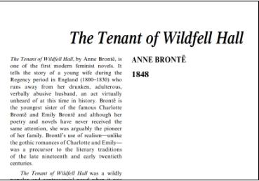 نَقدِ رُمانِ The Tenant of Wildfell Hall by Anne Bronte