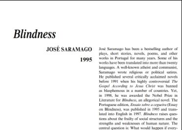 نَقدِ رُمانِ Blindness by Jose Saramago
