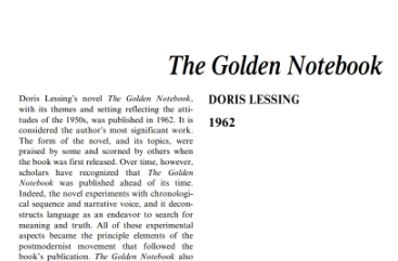 the golden notebook by doris lessing essays On doris lessing's exploration of the free woman  halfway through reading  the golden notebook, doris lessing's 1962 exploration of the.