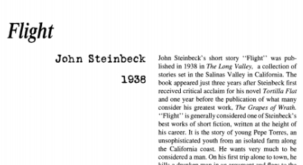 flight by john steinbeck Flight by john steinbeck about fifteen miles below monterey, on the wild coast,  the torres family had their farm, a few sloping acres above a cliff that dropped to .