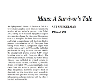نَقدِ رُمانِ Maus: A Survivor's Tale by Virginia Euwer...Wolff