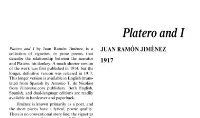 نَقدِ رُمانِ Platero and I by Juan Ramon Jimenez