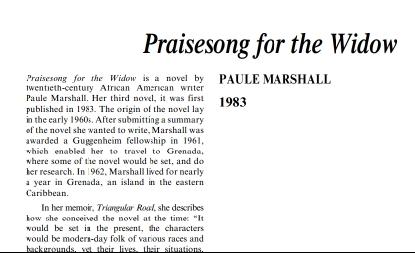 نَقدِ رُمانِ Praisesong for the Widow by Paule Marshall