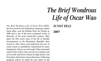 نَقدِ رُمانِ The Brief Wondrous Life of Oscar Wao by Junot Díaz