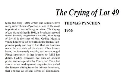 نَقدِ رُمانِ The Crying of Lot 49 by Thomas Pynchon