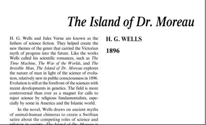 نَقدِ رُمانِ The Island of Doctor Moreau by H. G. Wells