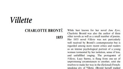 نَقدِ رُمانِ Villette by Charlotte Bronte