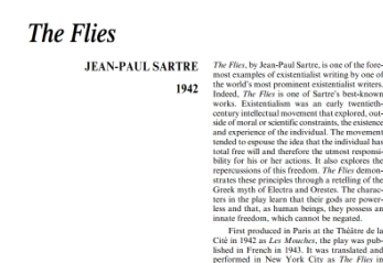 نقد نمايشنامه The Flies by Jean-Paul Sartre