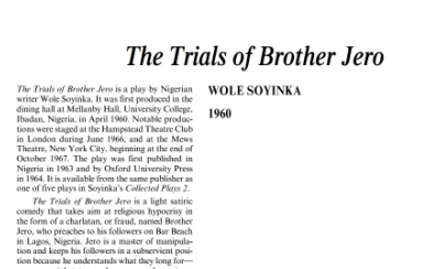 نقد نمايشنامه The Trials of Brother Jero by Wole Soyinka