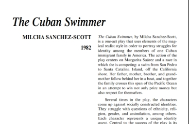 نقد نمايشنامه The Cuban Swimmer by Milcha Sanchez-Scott