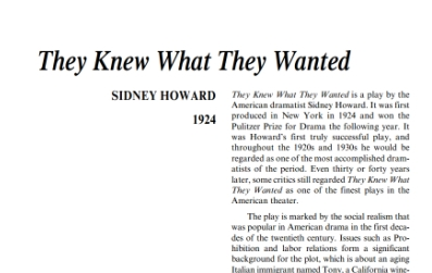 نقد نمايشنامه They Knew What They Wanted by Sidney Howard