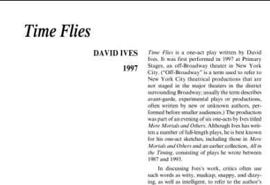 نقد نمايشنامه Time Flies by David Ives