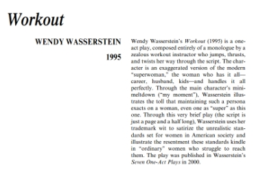نقد نمايشنامه Workout by Wendy Wasserstein