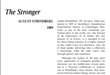 نقد نمايشنامه The Stronger by August Strindberg